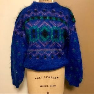 Sweaters - Hand made 80's cut vibrant colors sweater